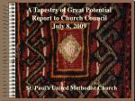 A Tapestry of Great Potential Report to Church Council July 8, 2009