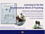 Learning to Do the Mathematical Work of Teaching