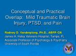 Conceptual and Practical Overlap: Mild Traumatic Brain Injury, PTSD , and Pain