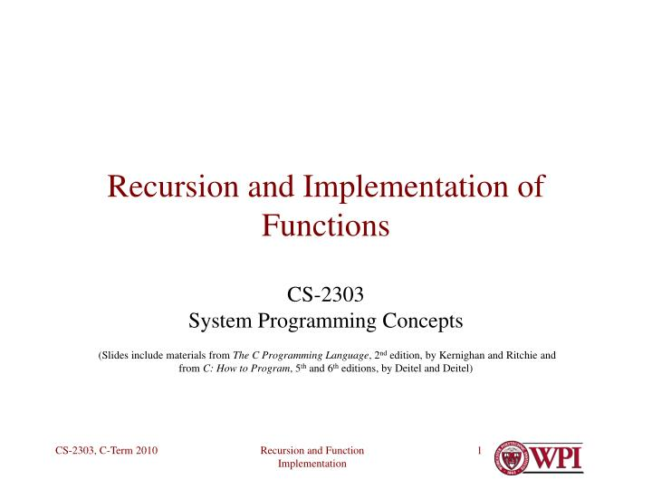 recursion and implementation of functions n.