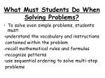 What Must Students Do When Solving Problems?