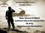 Sustaining the Force Soldier First