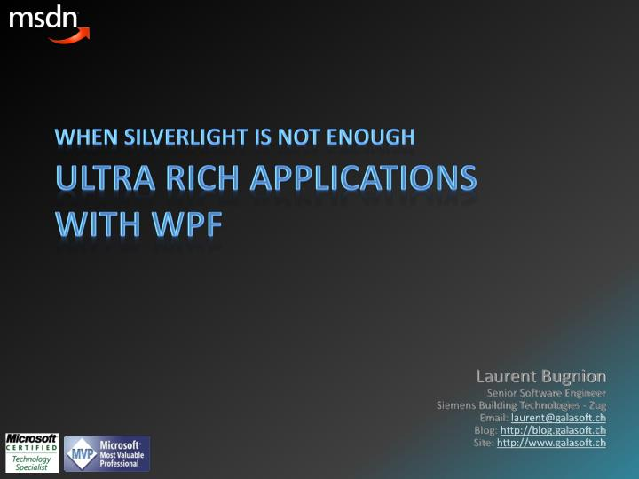 PPT - Ultra Rich Applications with WPF PowerPoint Presentation - ID