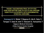 PHASE I VACCINATION TRIAL OF SYT-SSX JUNCTION PEPTIDE AND ITS HLA-A*2402 ANCHOR SUBSTITUTE IN PATIENTS WITH DISSEMINATED