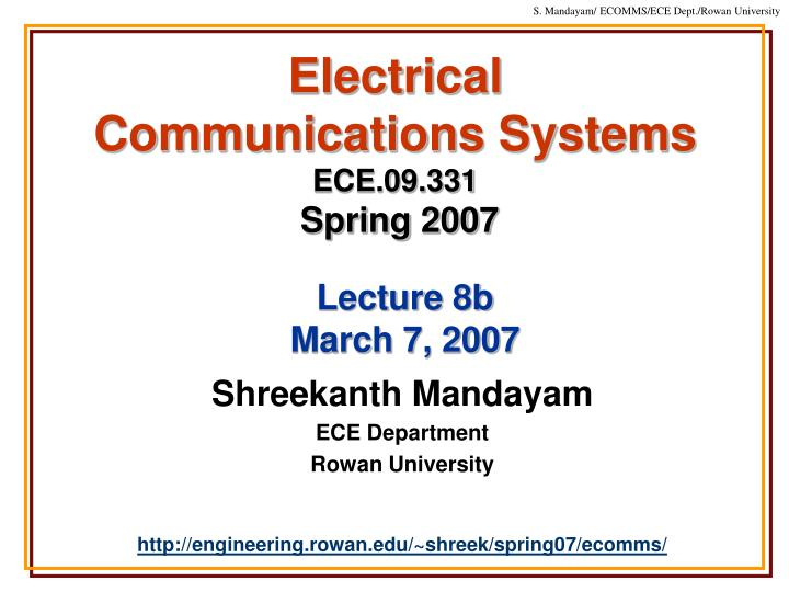 electrical communications systems ece 09 331 spring 2007 n.