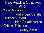 THEA Reading Objectives #1-6