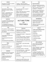 AUTUMN TERM Y3 FESTIVALS