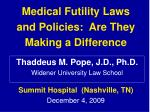 Medical Futility Laws  and Policies:  Are They Making a Difference
