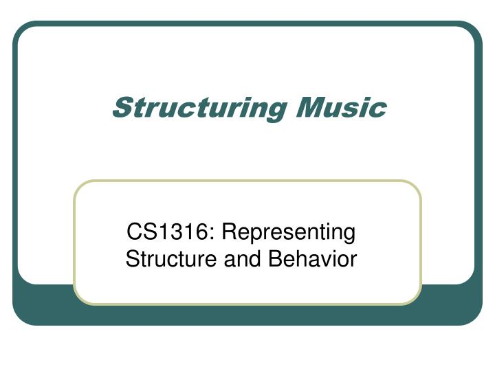 structuring music n.