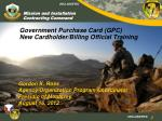 Government Purchase Card (GPC) New Cardholder/Billing Official Training