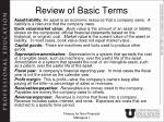 Review of Basic Terms