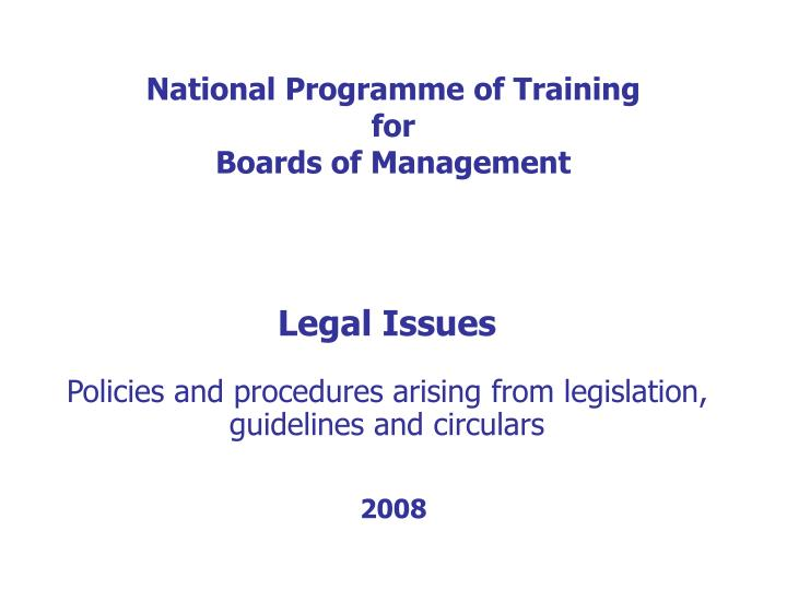 national programme of training for boards of management n.