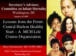 Secretary's Advisory Committee on Infant Mortality Washington, DC