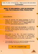 IMPACT OF NEW MINERAL LAWS ON EXPORTING CrMn FOR STAINLESS STEEL PRODUCTION