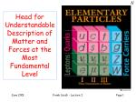 Head for Understandable Description of Matter and Forces at the Most Fundamental Level