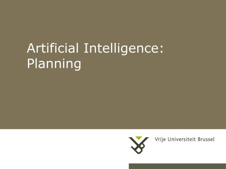 artificial intelligence planning n.