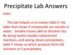 Precipitate Lab Answers