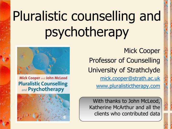 pluralistic counselling and psychotherapy n.