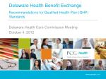 Delaware Health Benefit Exchange Recommendations for Qualified Health Plan (QHP) Standards