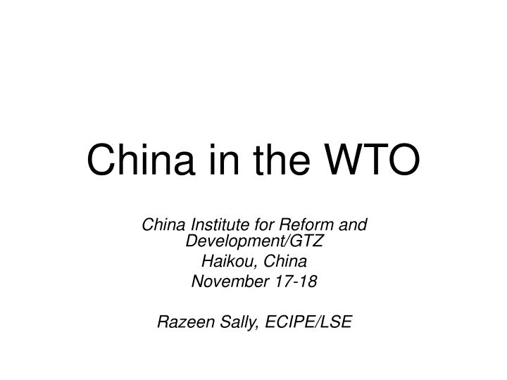 china in the wto n.