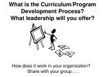 What is the Curriculum/Program Development Process? What leadership will you offer?