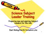 Science Subject Leader Training
