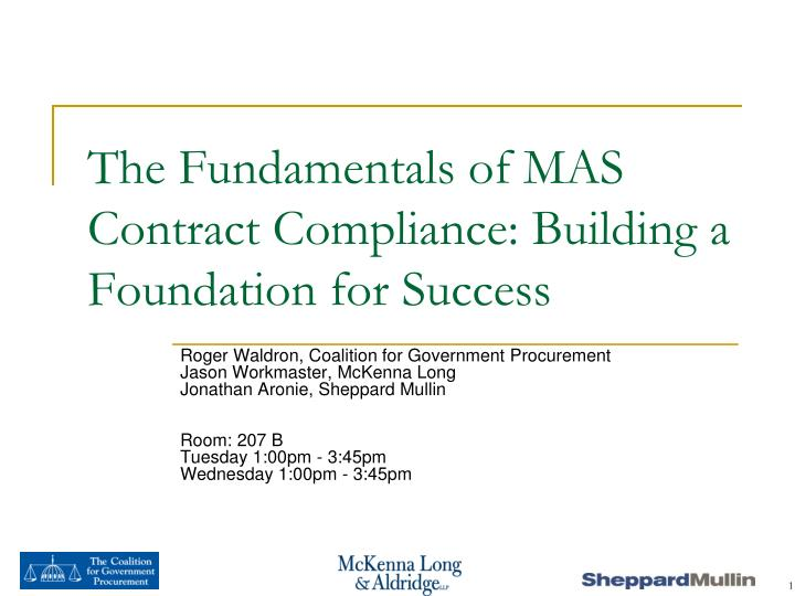 the fundamentals of mas contract compliance building a foundation for success n.