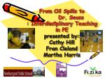 From Oil Spills to Dr . Seuss : Interdisciplinary Teaching in PE presented by: Cathy Hill Fran Cleland Marth