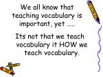 We all know that teaching vocabulary is important, yet …..
