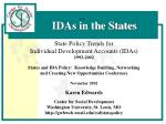 State Policy Trends for Individual Development Accounts (IDAs) 1993-2002 States and IDA Policy: Knowledge Building, Net