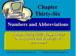 Numbers and Abbreviations