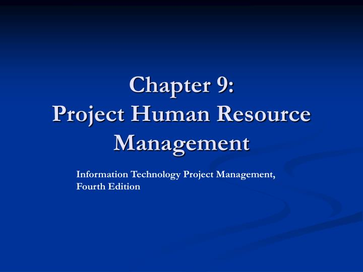 chapter 9 project human resource management n.