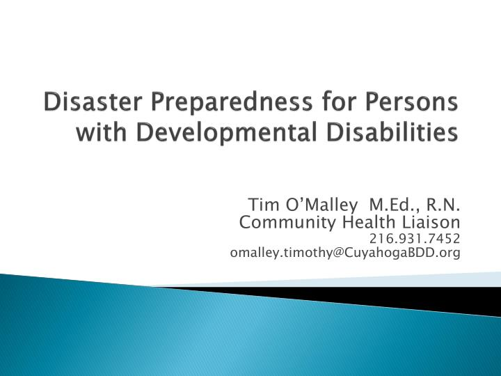 disaster preparedness for persons with developmental disabilities n.
