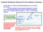 Compton Scattering : final proof for the existence of photons