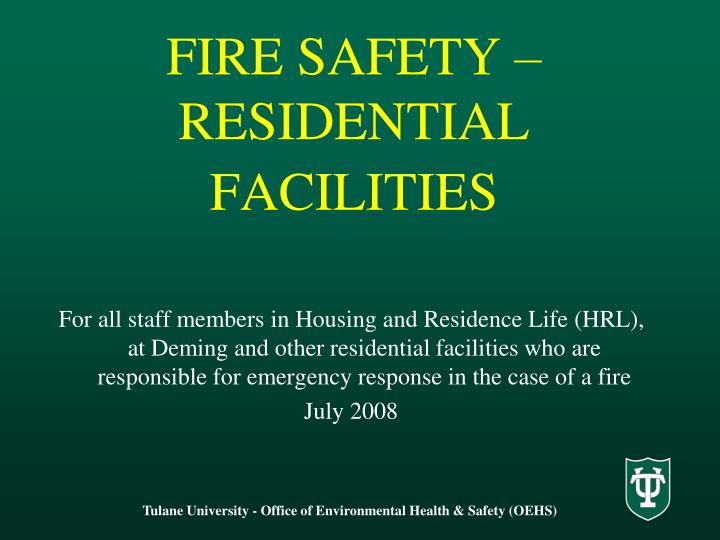 fire safety residential facilities n.