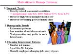Motivations to Manage Turnover 1. Economic Trends Directly related to economic conditions ∙ Unemployment rate Feb. 20