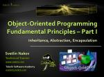Object-Oriented Programming Fundamental Principles – Part I