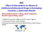 923 Effect of Interventions on Misuse of Antibiotics/Antibacterial Drugs in Developing Countries: a Systematic Review