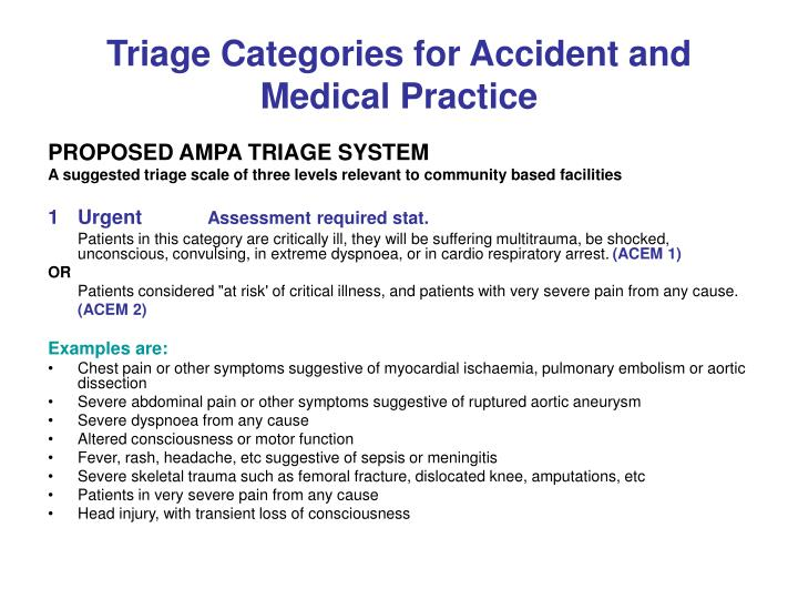 triage categories for accident and medical practice n.