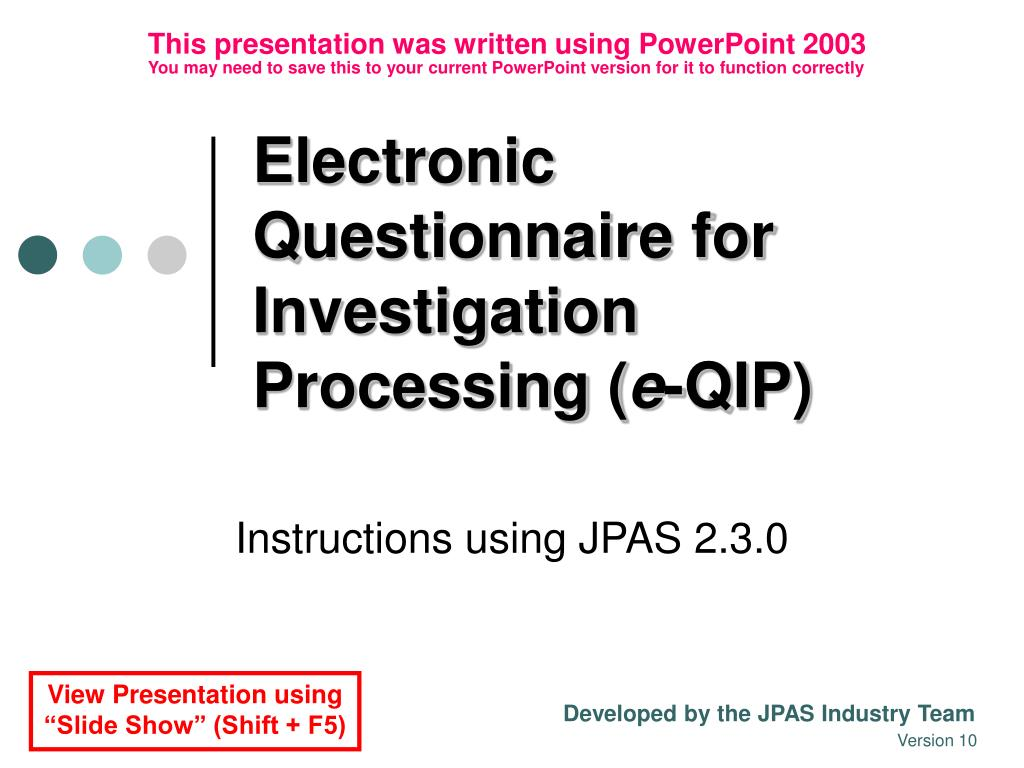 electronic questionnaire for investigation processing e qip l.