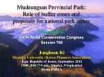 Mudeungsan Provincial Park: Role of buffer zones and proposals for national park status