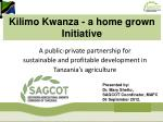 A public-private partnership for sustainable and profitable development in Tanzania's agriculture