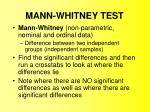 MANN-WHITNEY TEST