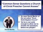 """ Common-Sense Questions a Church-of-Christ Preacher Cannot Answer"""