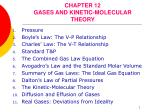 CHAPTER 12 GASES AND KINETIC-MOLECULAR THEORY
