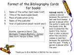 Format of the Bibliography Cards for books