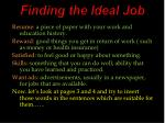Finding the Ideal Job