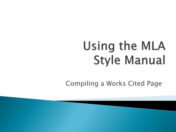 using the mla style manual n.
