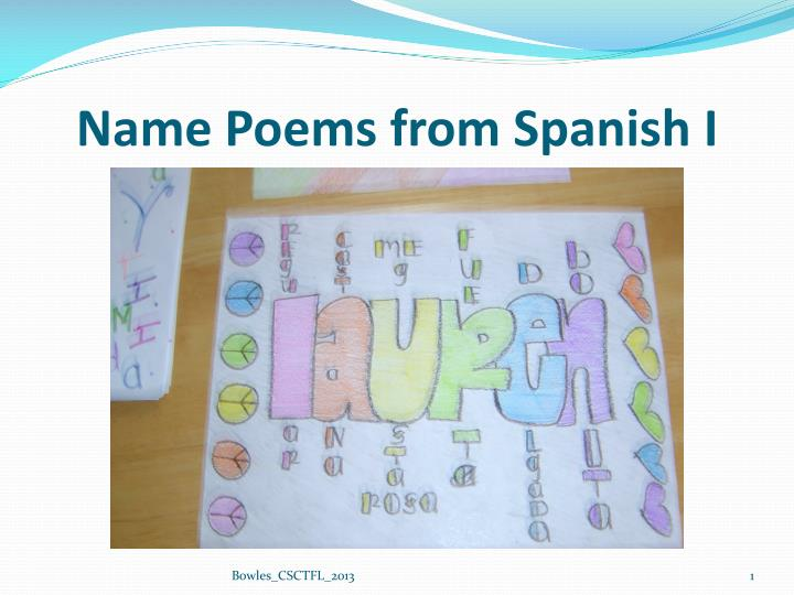 name poems from spanish i n.