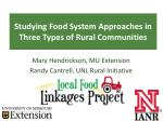 Studying Food System Approaches in Three Types of Rural Communities